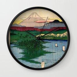 Hiroshige - 36 Views of Mount Fuji (1858) - 15: Noge and Yokohama in Musashi Province Wall Clock