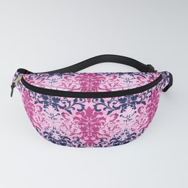 Pink and Navy Damask Fanny Pack