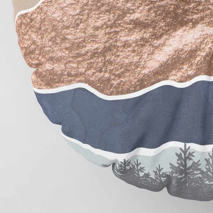 Mount Hood // Daylight Art Print Oregon Stratovolcano Rose Gold Silver Blue Cream Black Mountain Floor Pillow