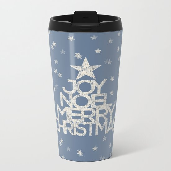 Joy-Noel-Merry Christmas- Typography and stars on fresh wintry grey Metal Travel Mug