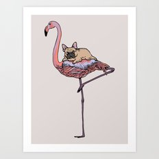 Flamingo and French Bulldog Art Print