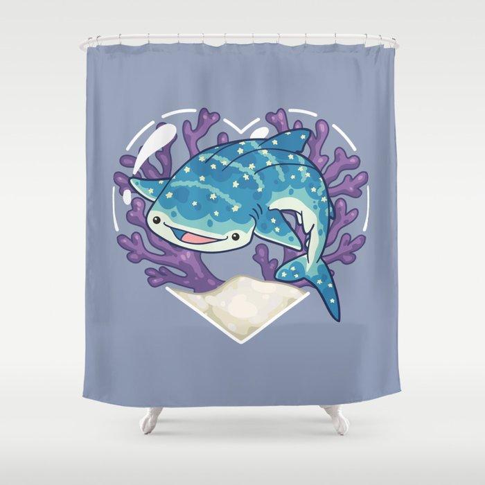 Nom The Whale Shark Shower Curtain By Bytesizetreasure Society6