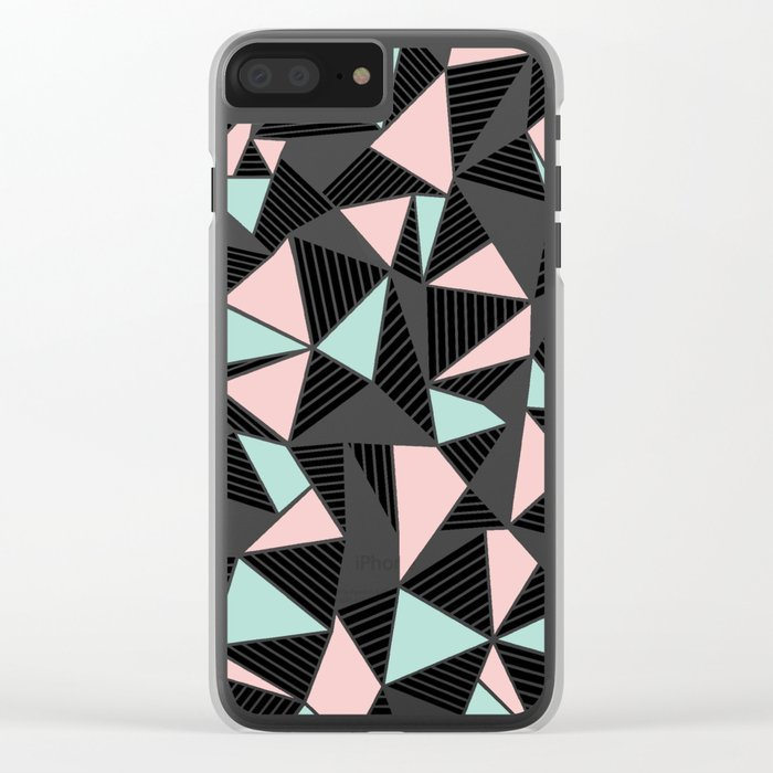 AbLines with Blush Mint Blocks Clear iPhone Case