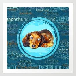 Cute Longhaired Dachshund Puppy Art Print