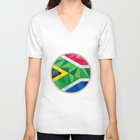 south africa V-neck T-shirts featuring South Africa Flag Icon Circle Low Polygon by patrimonio
