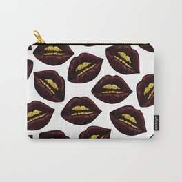 Red Black Lips and Faux Sparkly Gold Grill Teeth Carry-All Pouch