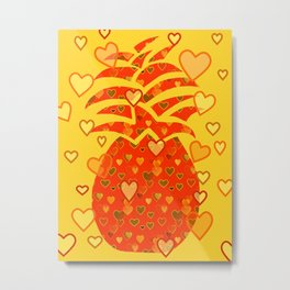 I Love Pineapple Metal Print