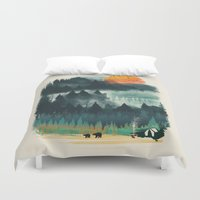 camp Duvet Covers featuring Wilderness Camp by dan elijah g. fajardo