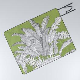 Banana Leaves Illustration - Green Picnic Blanket