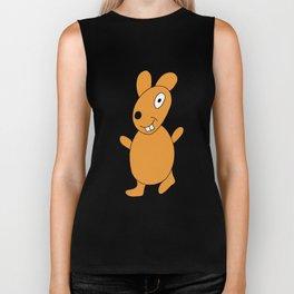 funny childishly drawn rabbit in brown color Biker Tank