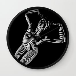 0465s-MM Black White Striped Art Nude Kneeling Woman Arched Back Bliss Wall Clock