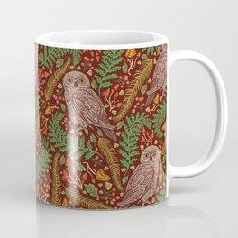 Brown owls amoung mashroom green fern and red berries Coffee Mug