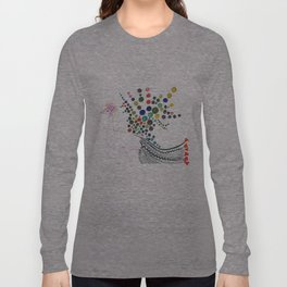 Dreamy bubble flowered Peacock  Long Sleeve T-shirt