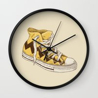 chuck Wall Clocks featuring Chuck by Terry Fan