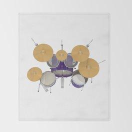 Purple Drum Kit Throw Blanket