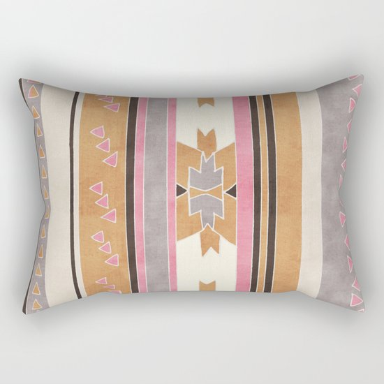 Rustic Tribal Pattern in Raw Sienna, Strawberry and Ash Rectangular Pillow