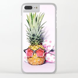 Trendy pineapple with pink sunglasses and flip flops Clear iPhone Case