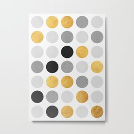 Gray and gold circles Metal Print