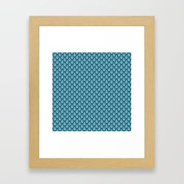 Gleaming Blue Metal Scalloped Scale Pattern Framed Art Print