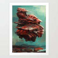 Mother ship hovering Art Print