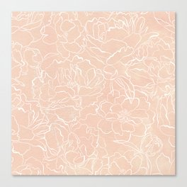 Modern pink coral white hand painted watercolor floral Canvas Print
