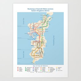 Azeroth - Eastern Kingdoms Routemap Art Print