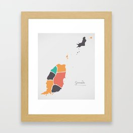 Grenada Map with states and modern round shapes Framed Art Print