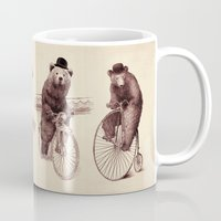 bears Mugs featuring Bears on Bicycles by Eric Fan