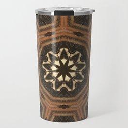 Iron Wood // Geometric Abstract Mandala Circle Pattern Brown Beige Natural Organic Wabi Sabi Travel Mug