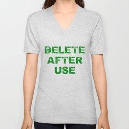 Delete after use. Unisex V-Neck