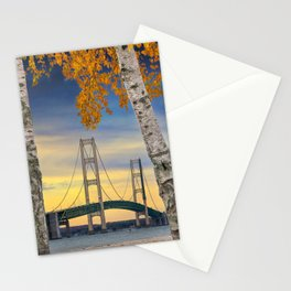 Autumn Birch Trees in Mackinaw City by the Mackinac Bridge Stationery Cards
