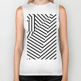 Modern Black and White Stripes Geometric Pattern Biker Tank