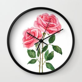 two pink roses watercolor Wall Clock