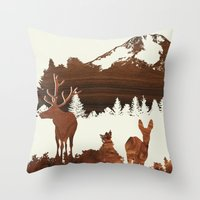 woodland Throw Pillows featuring woodland by jefdesigns