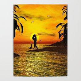 Sunset Kissed Mermaid Silhouette Poster