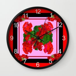 Red Geraniums, Coral Pink & Black Still Life Wall Clock