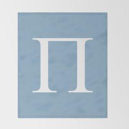Greek letter Pi sign on placid blue background Throw Blanket