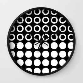 Mid Century Modern Circles And Dots Black & White Wall Clock