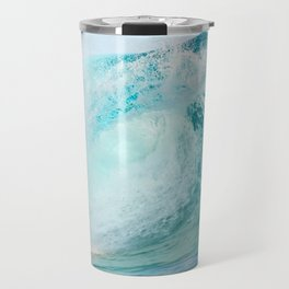 Pacific big surfing wave breaking Travel Mug