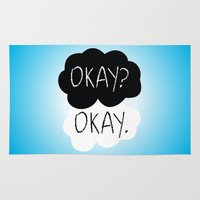 the fault in our stars Area & Throw Rugs featuring OKAY? OKAY. The Fault in Our Stars by Alan Lima