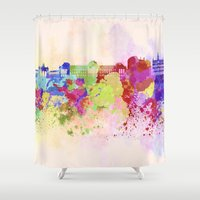 brussels Shower Curtains featuring Brussels skyline in watercolor background by Paulrommer