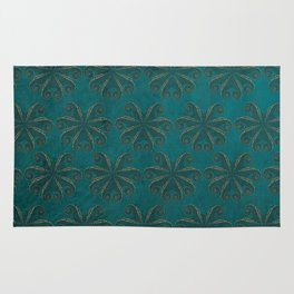Petrol Octopus - Sea Life Print, Green Sea, Gold Detail, Pattern, Animal Print Rug