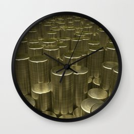 Pattern of brushed gold cylinders Wall Clock