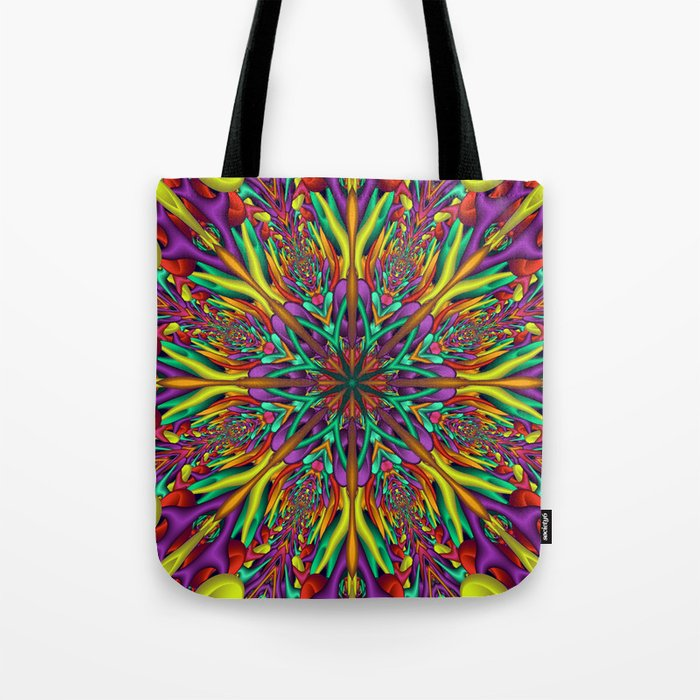 Crazy colors 3D mandala Tote Bag