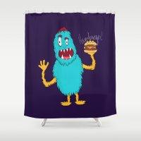 hamburger Shower Curtains featuring Hamburger! by Chelsea Herrick