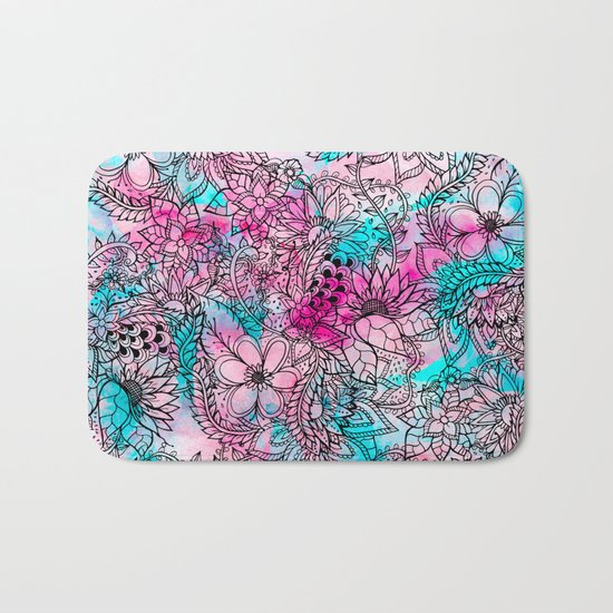 Modern pink turquoise floral watercolor handdrawn pattern Bath Mat
