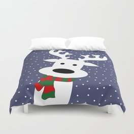 Reindeer in a snowy day (blue) Duvet Cover