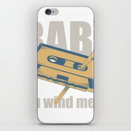 Baby You Wind Me Up Vintage Cassette Tape Being Wound By Pen product iPhone Skin