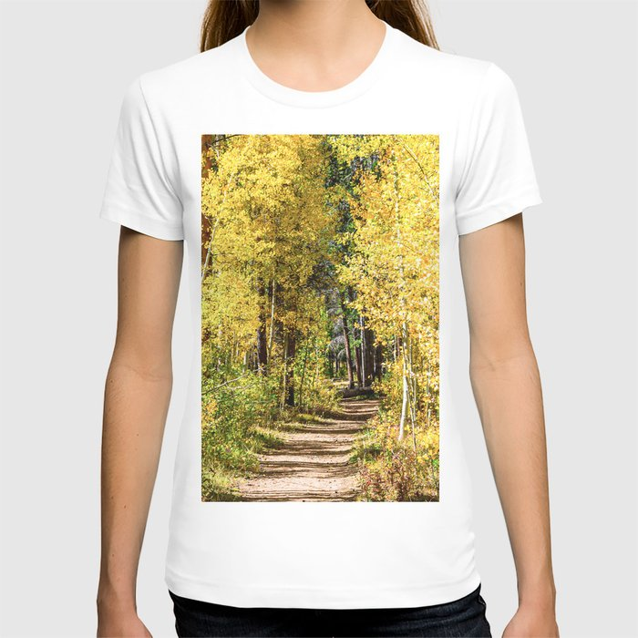 Yellow Tree Road // Hiking in the Forest Deep Into Autumn Colorful Trees T-shirt