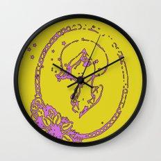 Starry Eyed Yellow Wall Clock